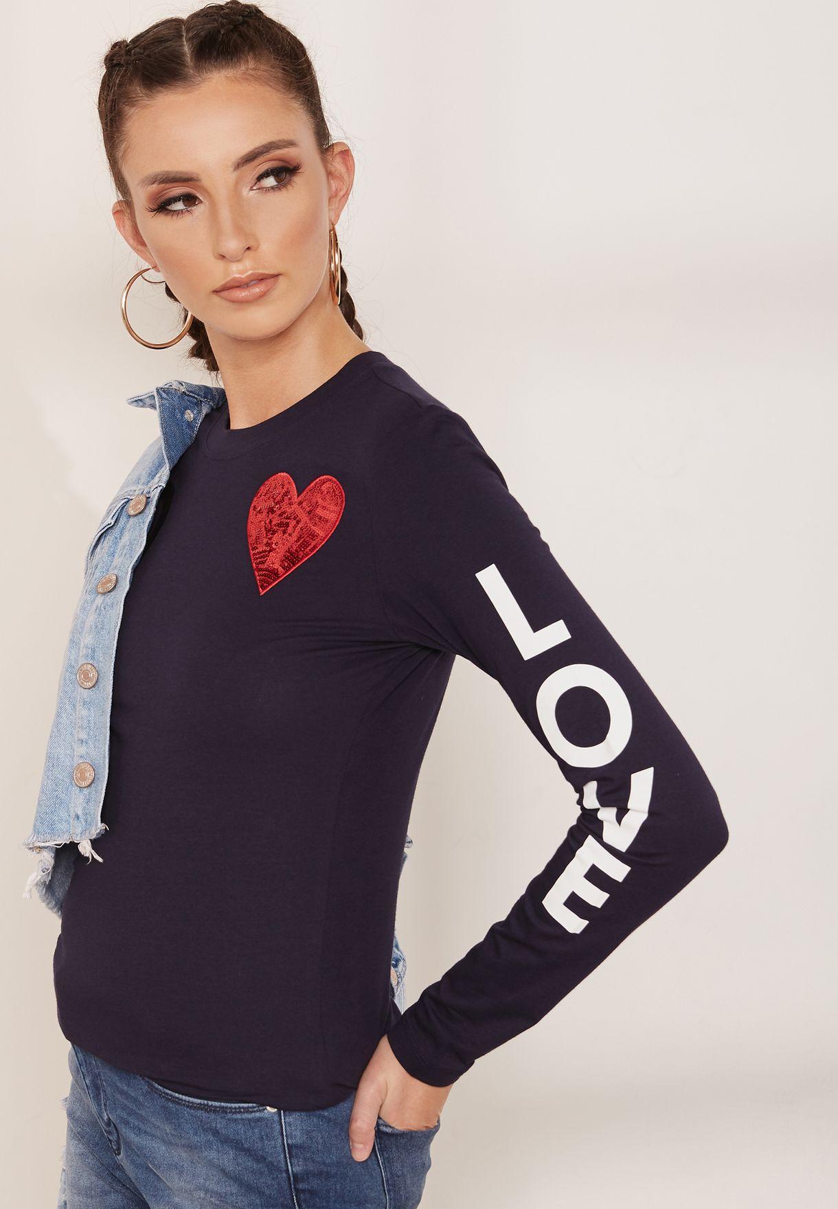 9bc31000 Shop Love Moschino navy Logo Print Long Sleeve T-Shirt W4G52 01 for ...
