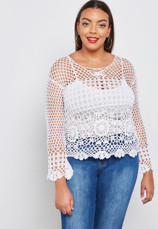 Lace Up Detail Crochet Sweater