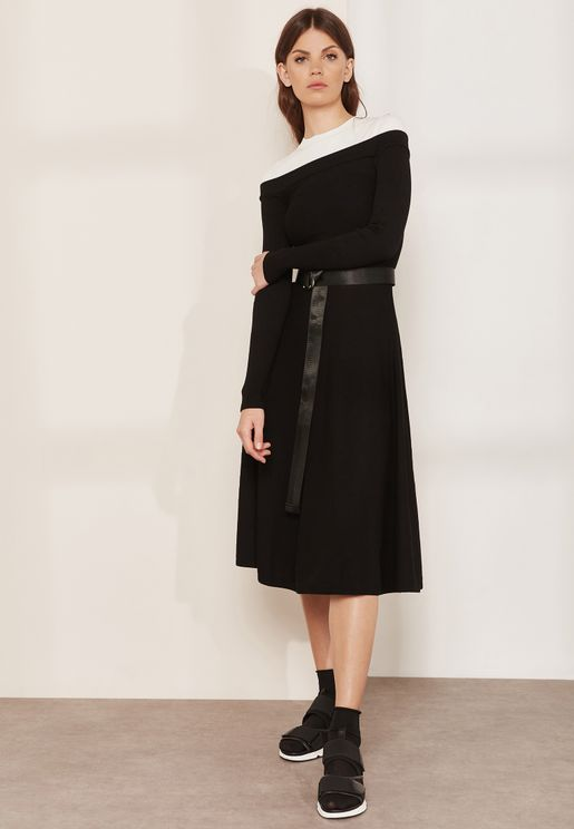 Relais Colorblock Belted Dress