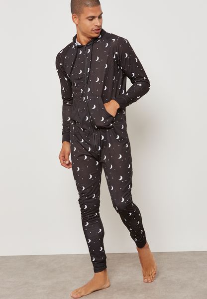 Moon Printed Hoodied Onesie
