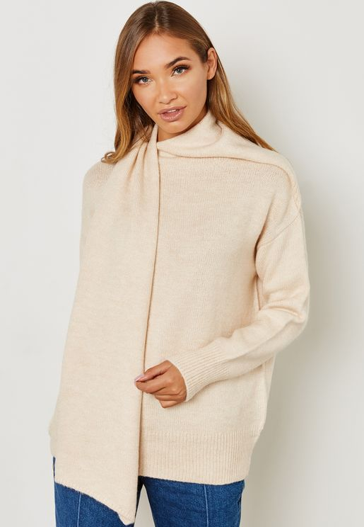 Wrap Ribbed Sleeve Sweater