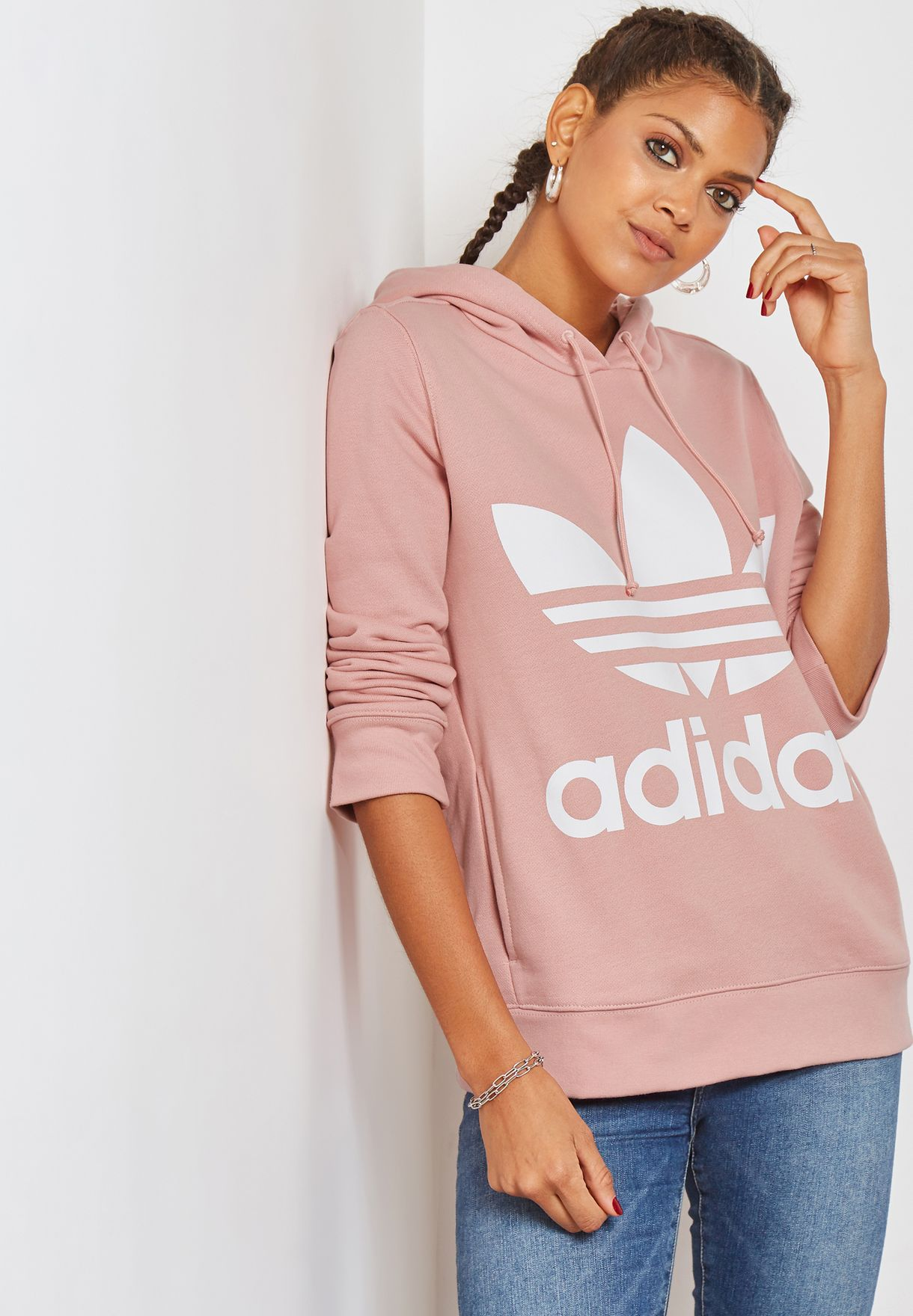cd9328f0513bb6 Shop adidas Originals pink Trefoil Hoodie DH3134 for Women in UAE ...