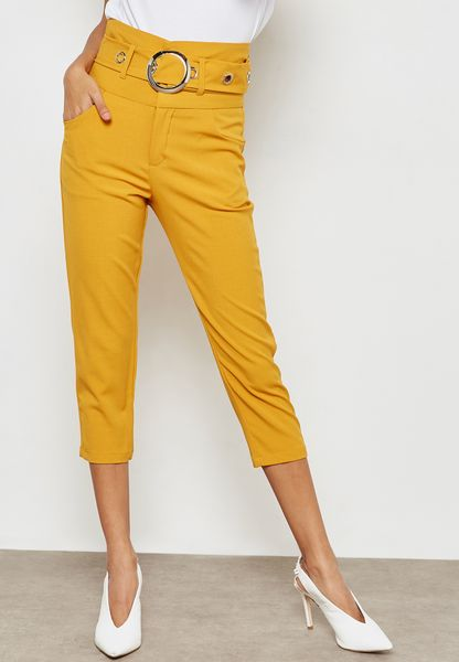 High Waisted Belted Cropped Pants