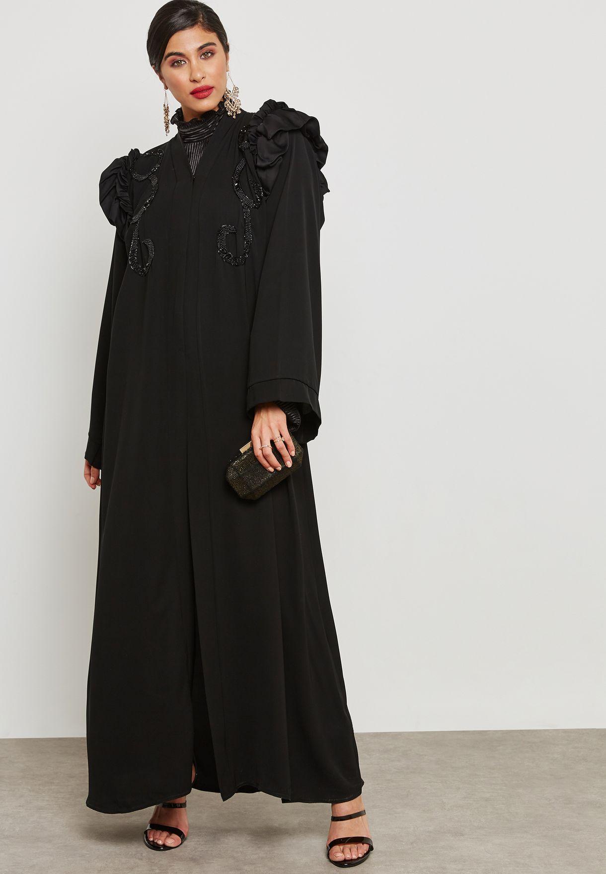 Embroidered Top Ruched Shoulder Abaya