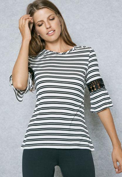 Lace Detail Striped T-Shirt