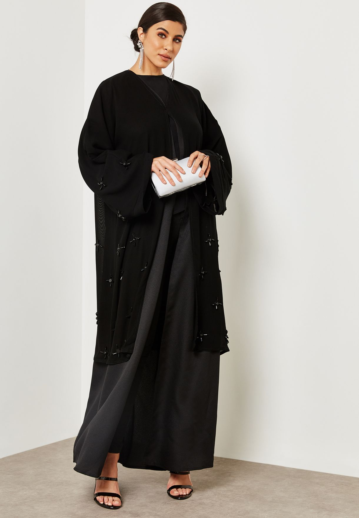 Jacket Look Pearl Detail Abaya