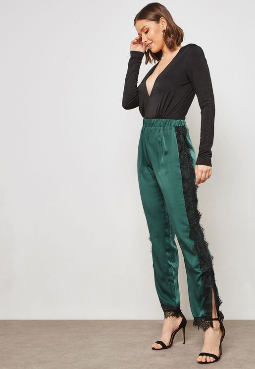 Lace Trim Satin Jogger Pants