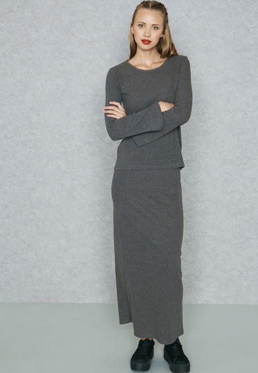 Back Slit Maxi Skirt Set