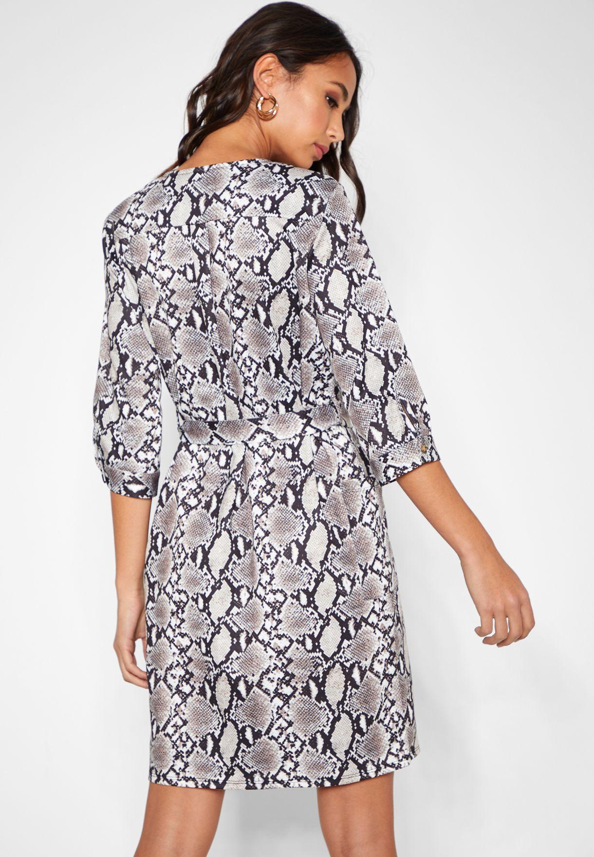 Snake Print Long Sleeve V-Neck Midi Dress