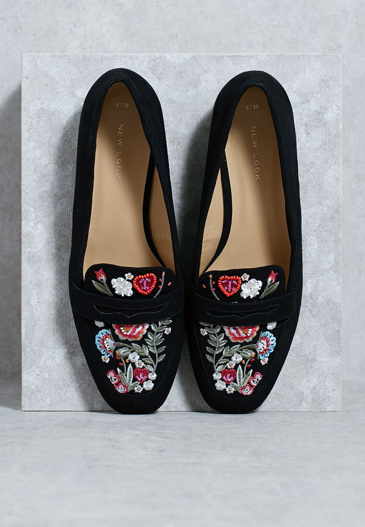 0718d92de97a Shop New Look black Floral Embroidered Loafer 52471191 for Women in ...