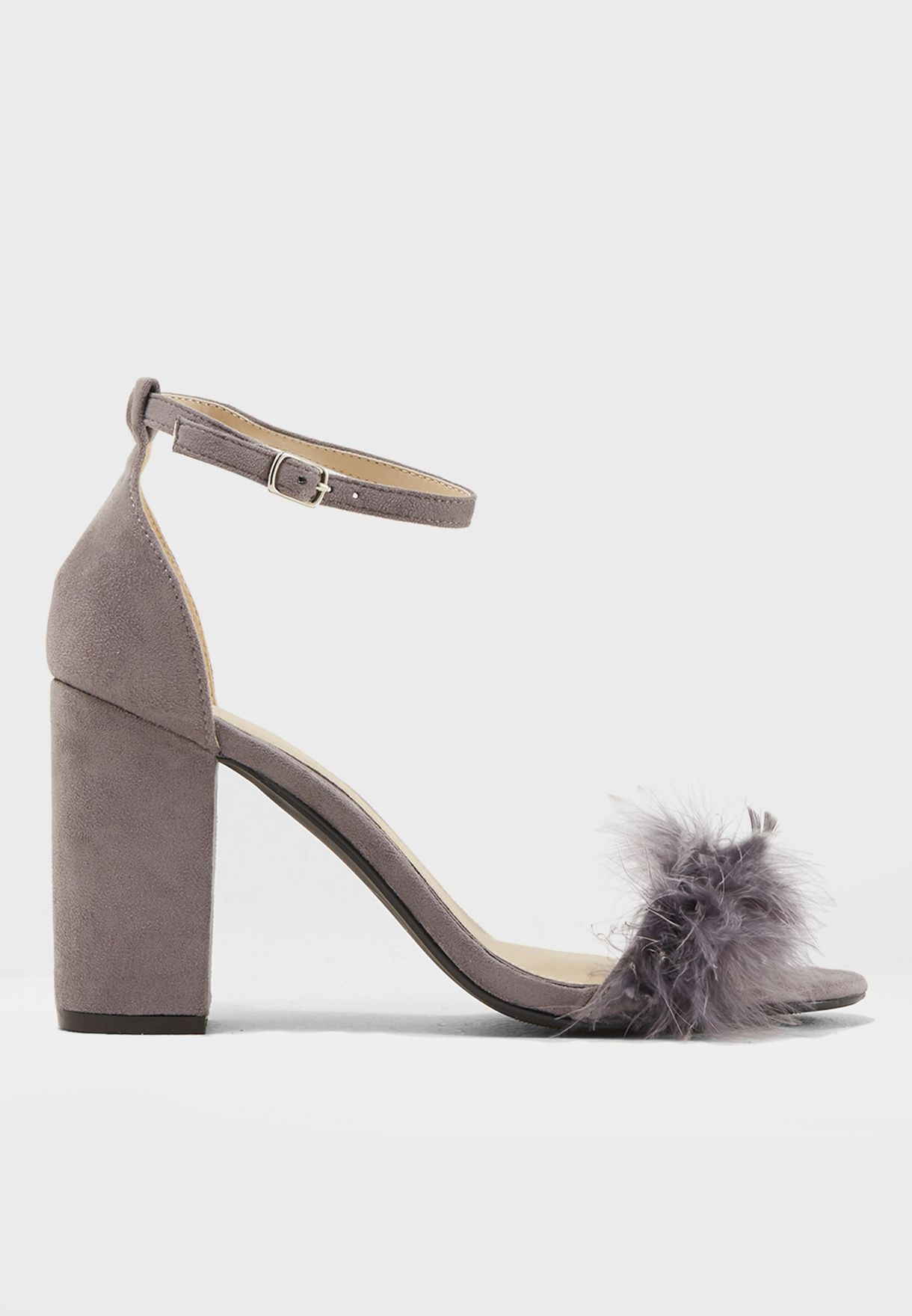 61c92d64ab8 Shop Missguided grey Mid Block Heel Feather Sandal F1608342 for ...