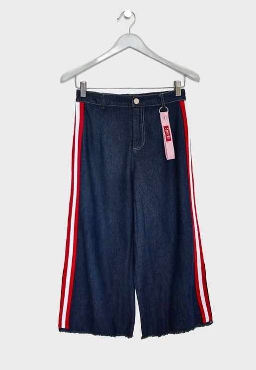 Teen Side Tape Wide Leg Pants
