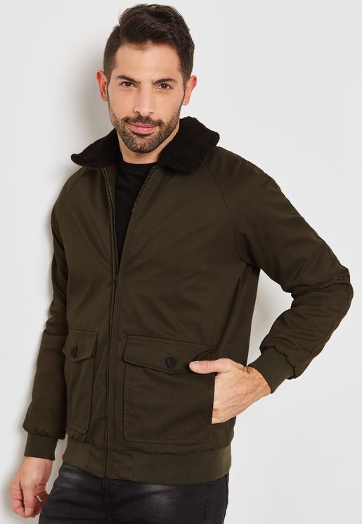 Cotton Bonded Jacket With Fixed Sherpa Collar