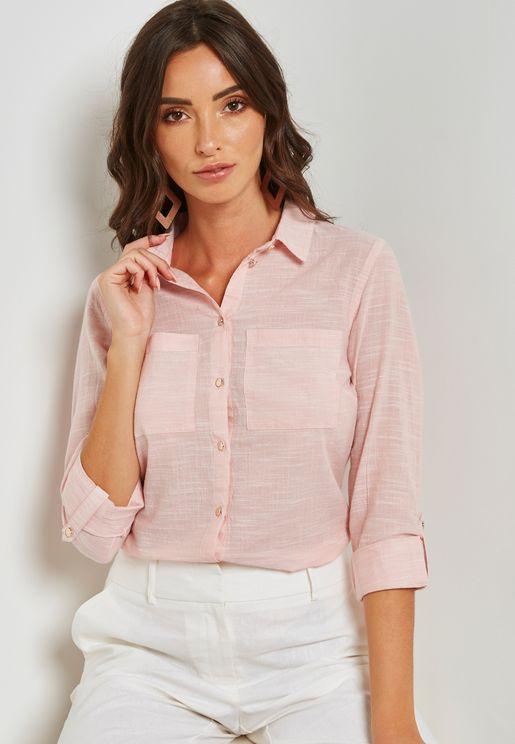 Contrast Metallic Button Detail Shirt