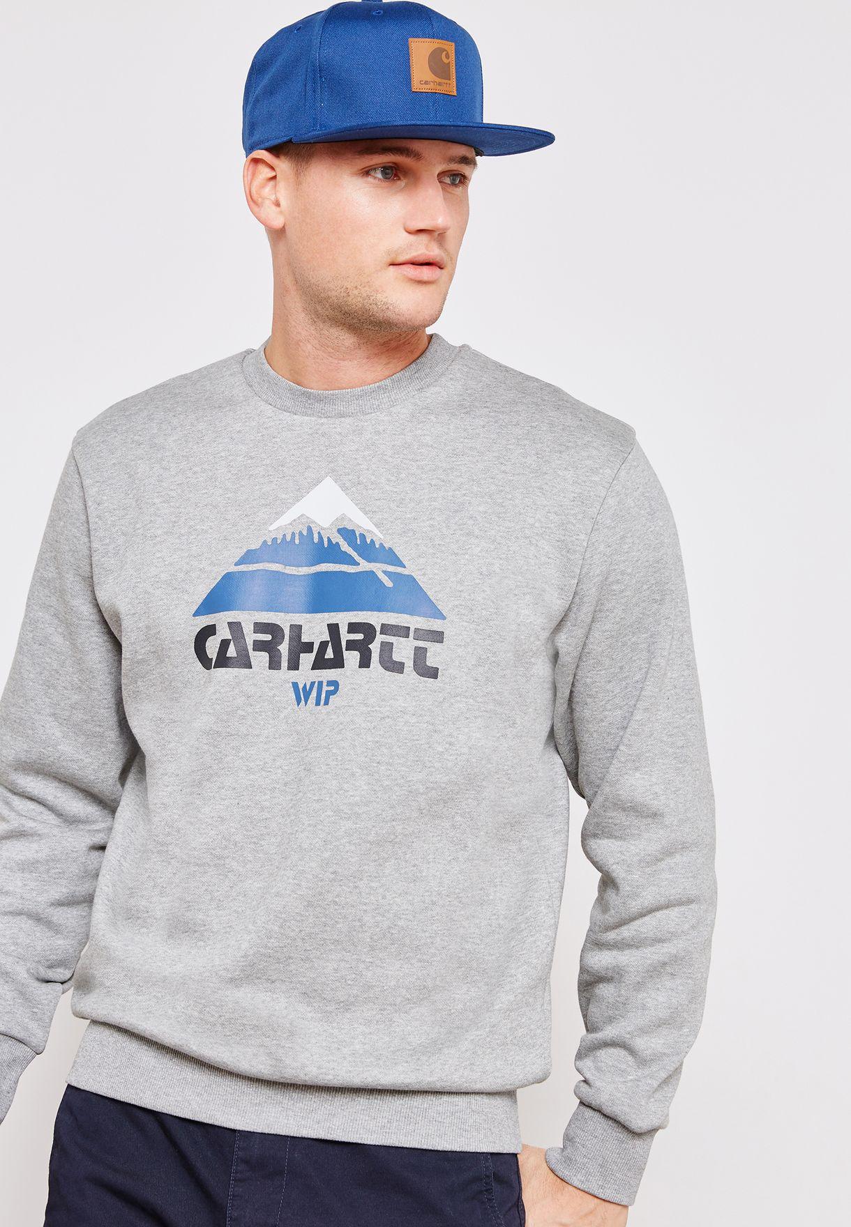 b5a8881db64 Shop Carhartt WIP grey Mountain Sweatshirt I025736 for Men in UAE ...