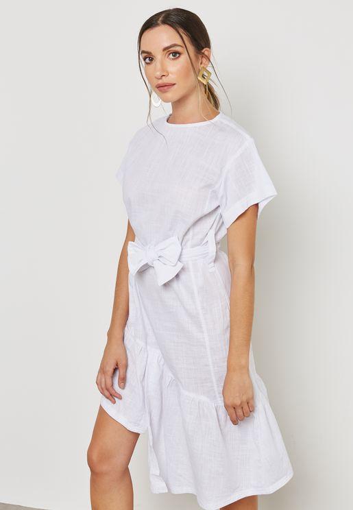 Tie Waist Ruffle Sleeve Dress