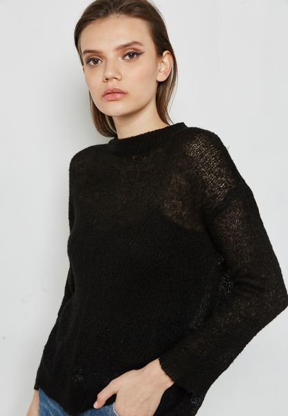 Lace Back Button Detail Sweater