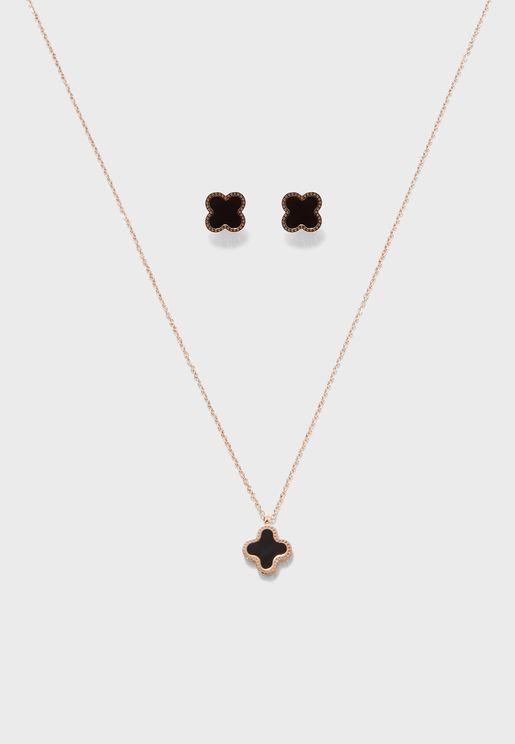 Floral Pendant Necklace+Studs