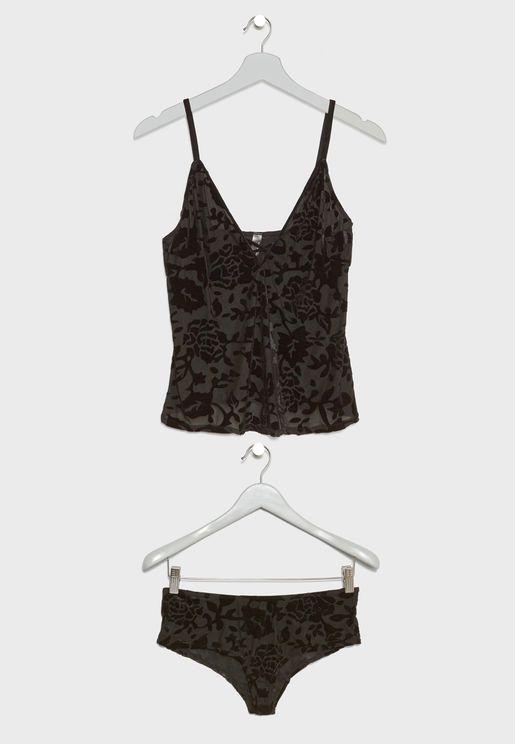 Velvet Embossed Pyjama Shorts Set