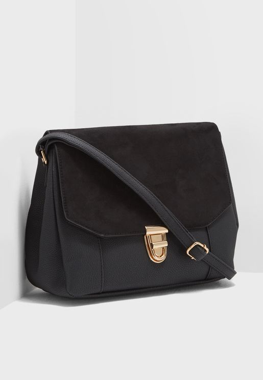 Kathy Foldover Suedette Front Crossbody