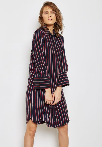Side Split Striped Shirt Dress