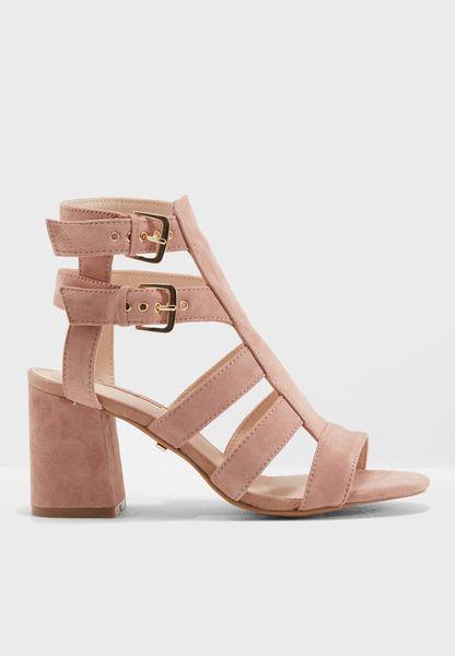 Nia Buckle Mid Heel Sandals