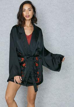 Applique Detail Belted Robe
