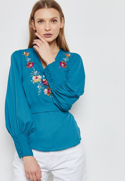 Embroidered Wrap Front Self Tie Top