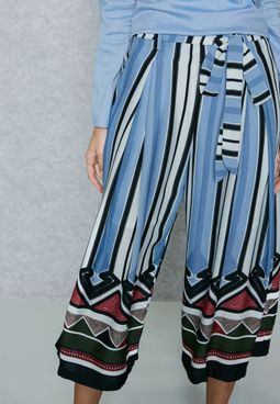 Striped Self Tie Culottes
