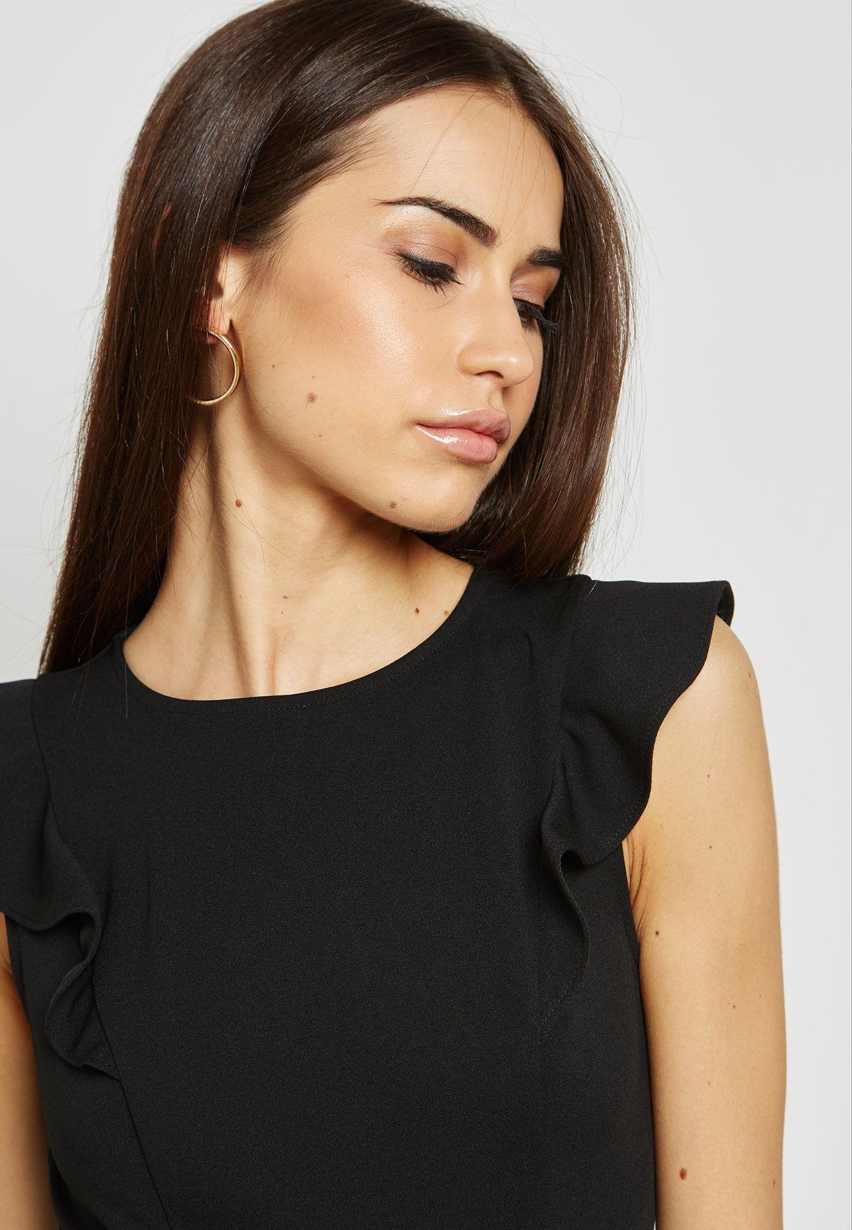 Ruffle Shoulder Pencil Dress