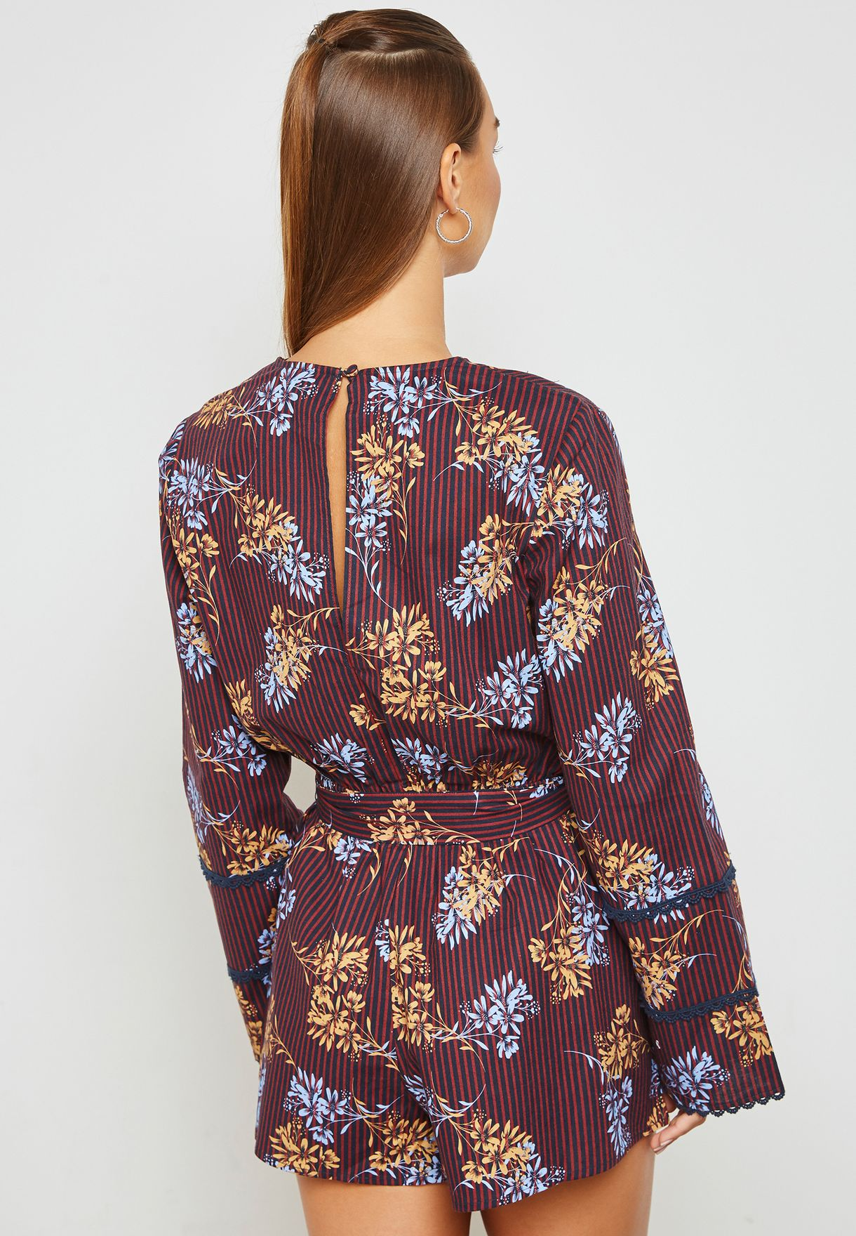 Printed Wrap Front Playsuit