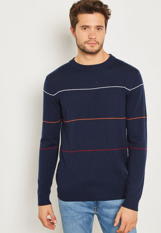 Merino Chest Striped Crew Neck Sweater