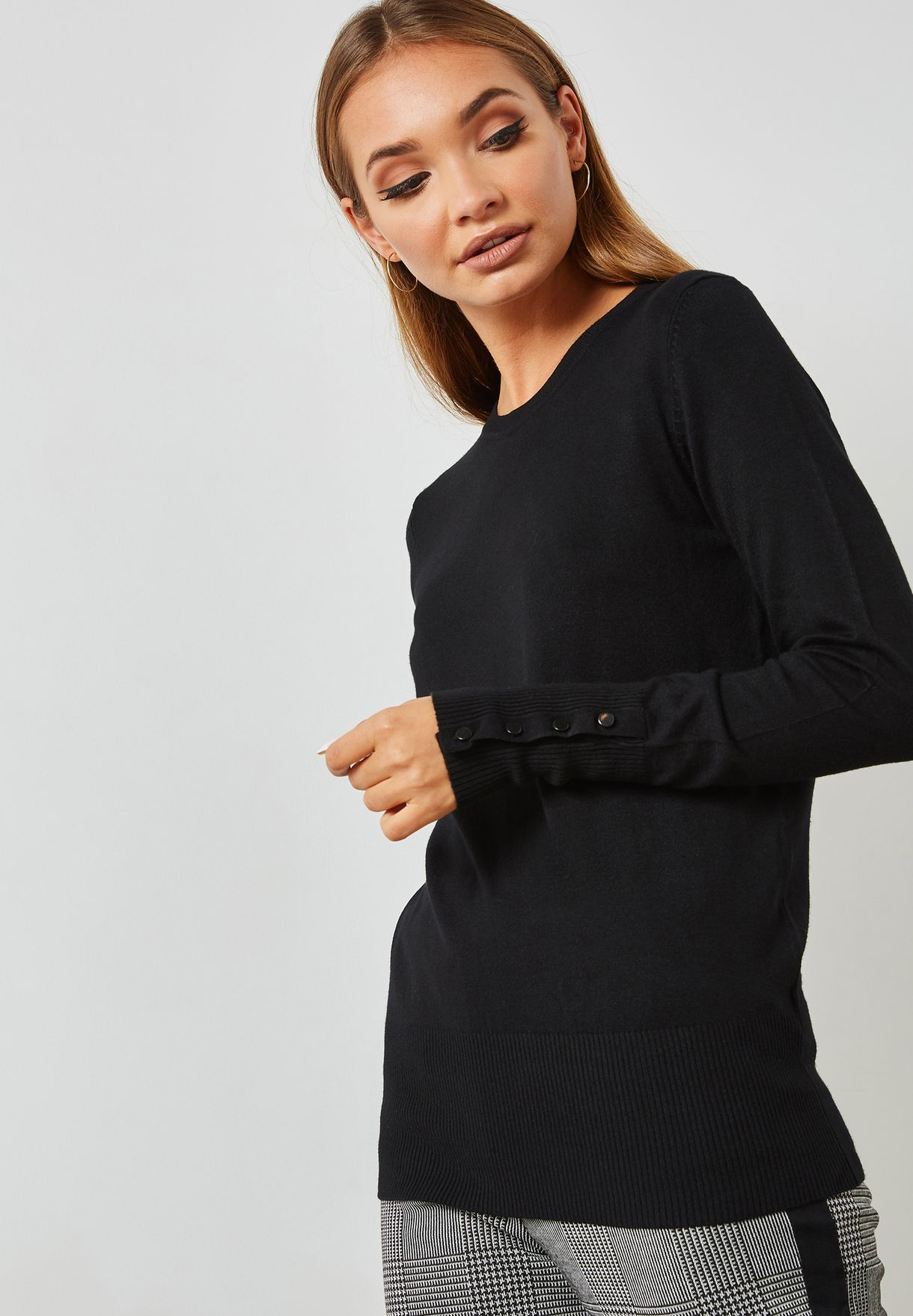 Sleeve Button Detail Sweater