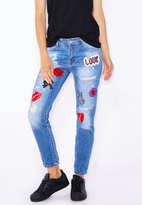 Ginger Badge Ripped Straight Jeans