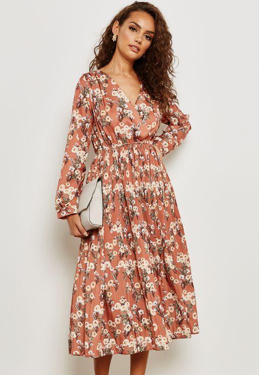 Floral Print Wrap Front Dress