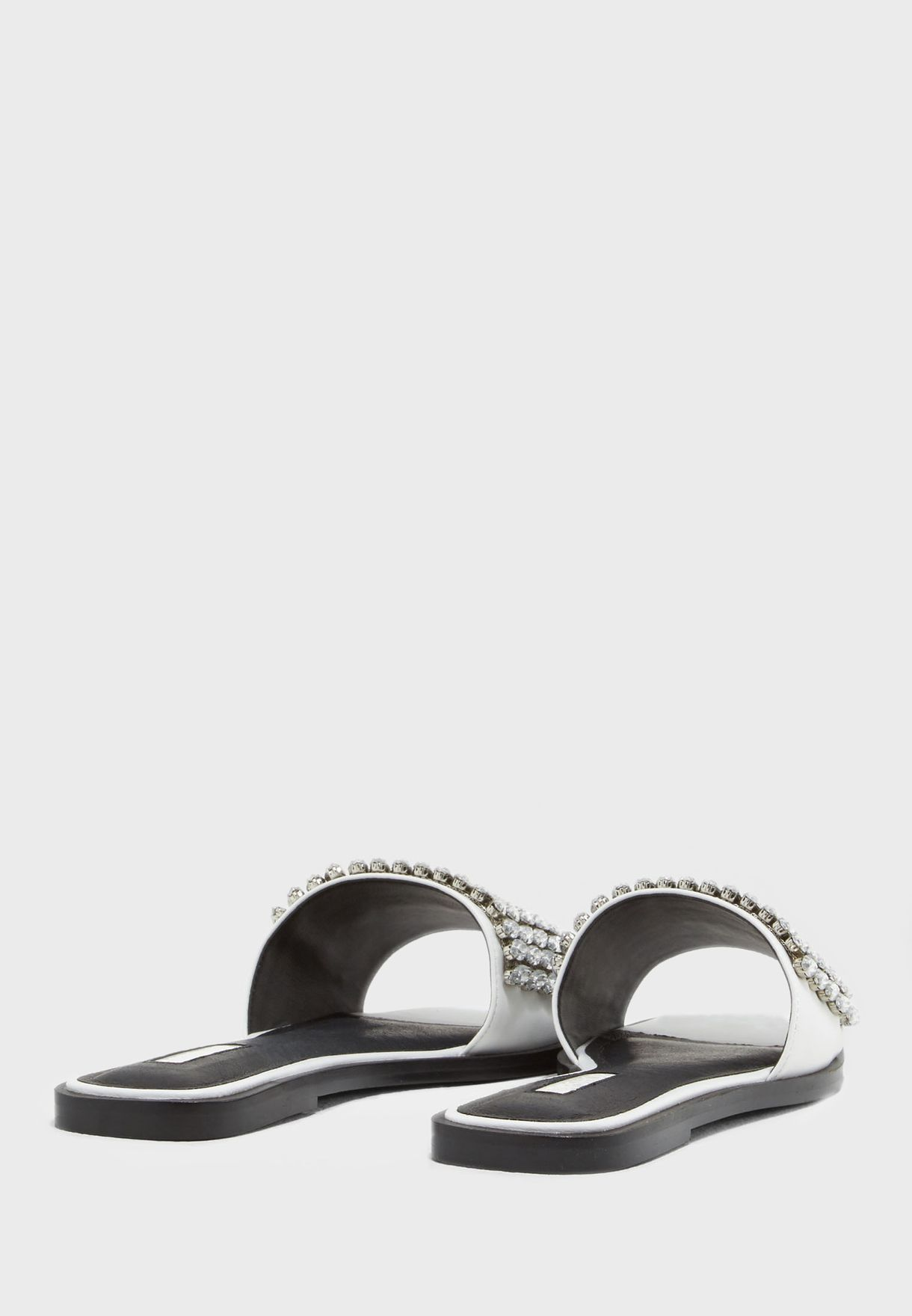e9a0772f0685 Shop Topshop white Fancy Embellished Sliders 32F06NWHT for Women in ...