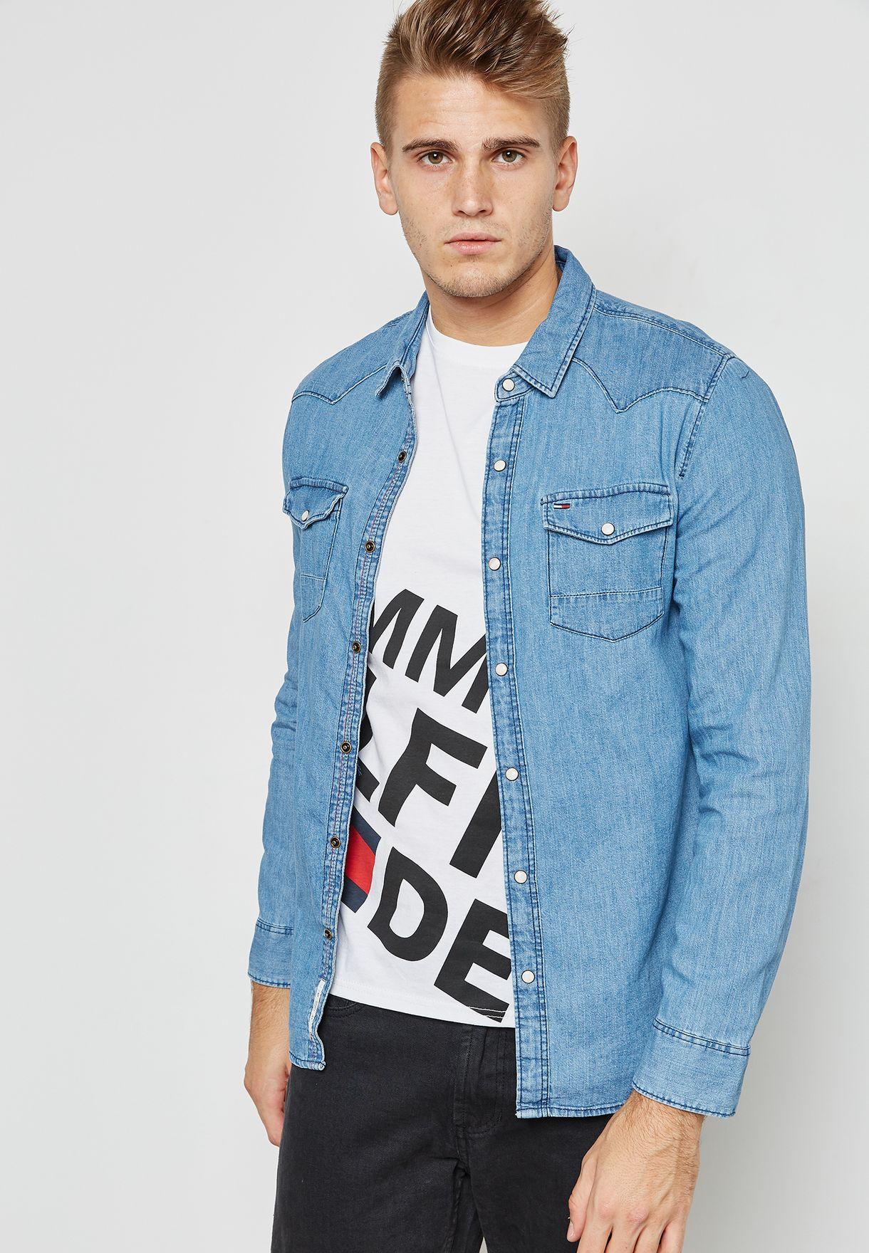 282c4af7db Shop Tommy Jeans blue Basic Denim Shirt DM0DM03047412 for Men in UAE ...