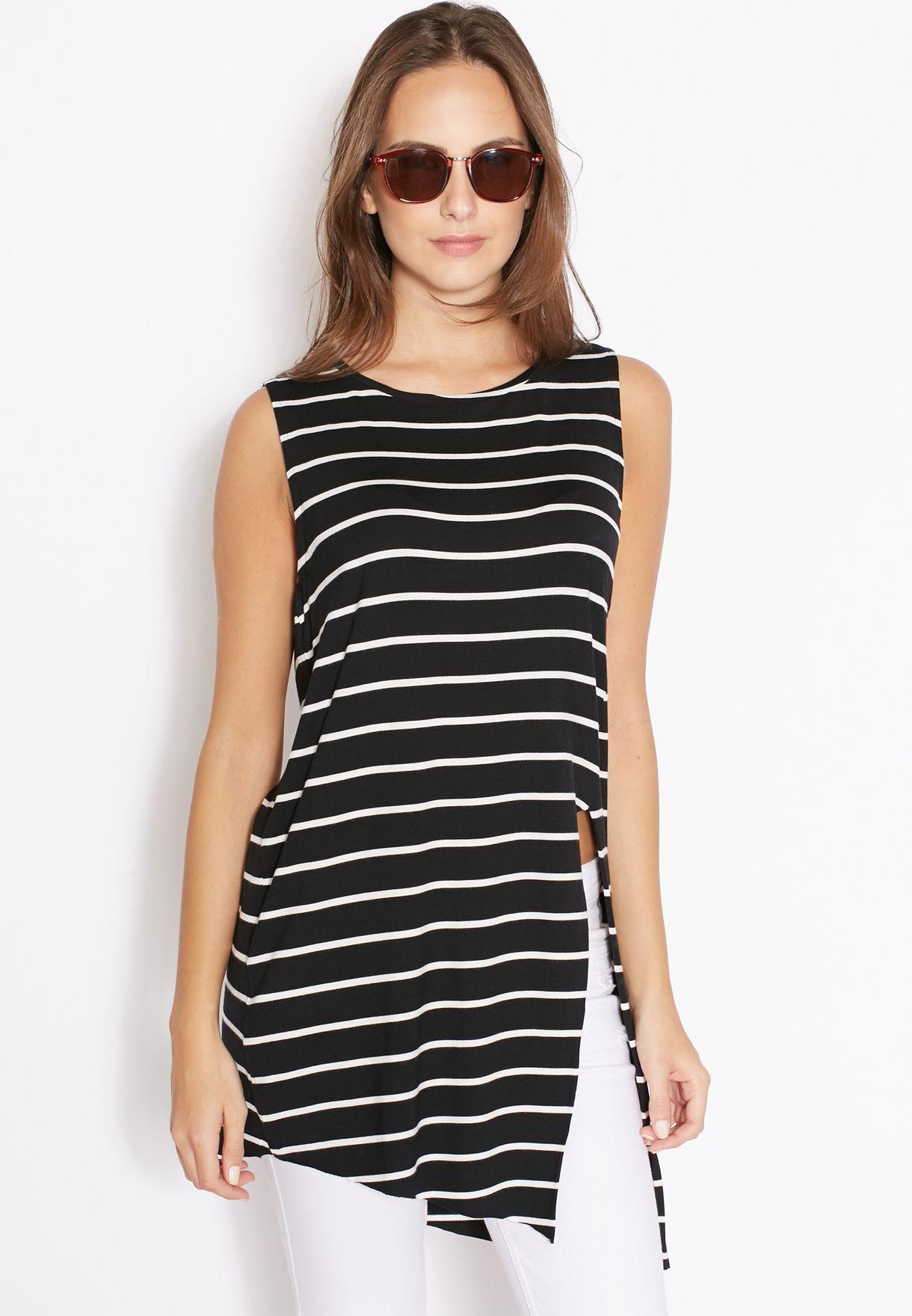 459a9ccd537 Shop Mango black Side Slit Striped Top 73020228 for Women in Qatar -  MA887AT10RFH