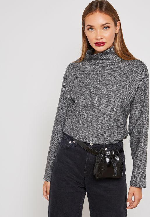 Textured High Neck Sweatshirt