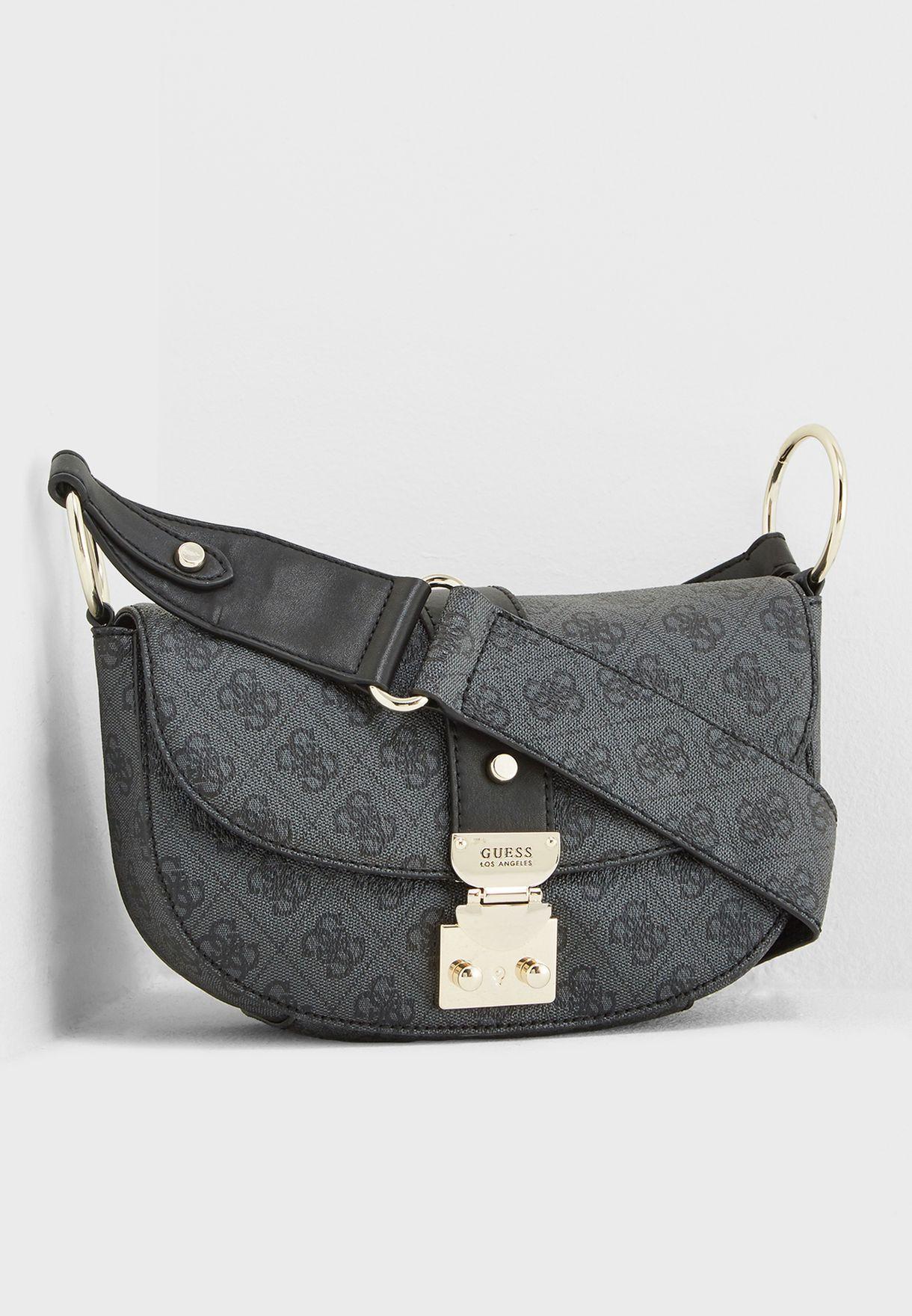 b8169e615f Shop Guess black Florence Crossbody SG699118COA for Women in UAE ...