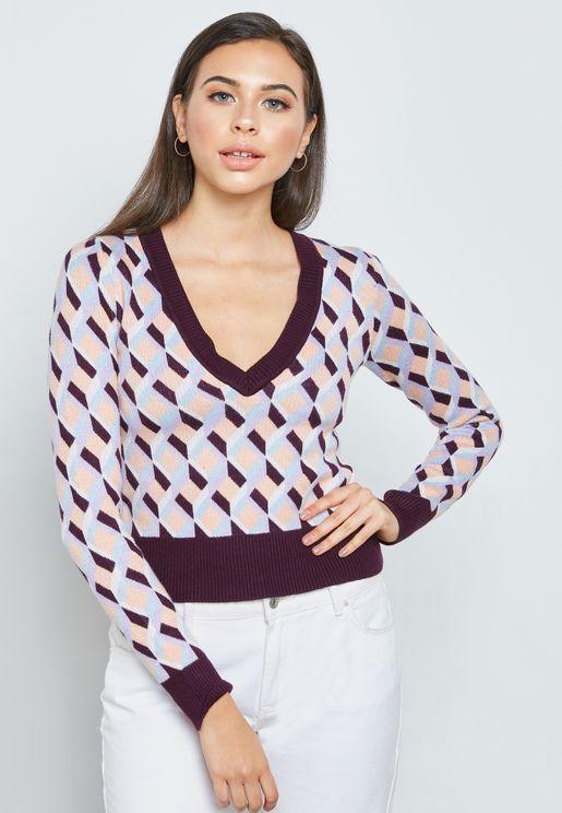 Geo Patterned V-Neck Sweater