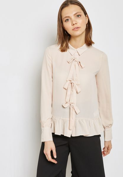 BLOUSE WITH RIBBON DETAIL PLACKET