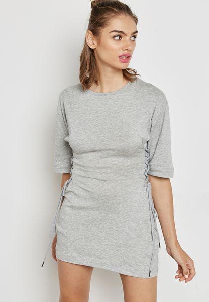Side Lace Up T-Shirt Dress