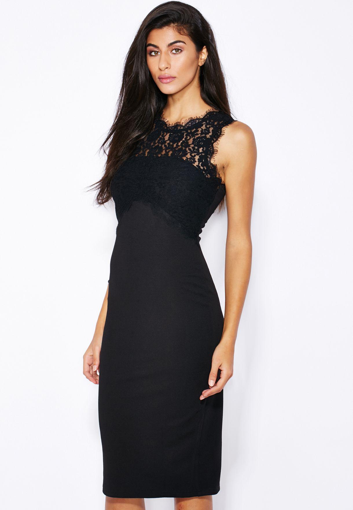 942b31bb3d Shop New Look black Lace Yoke Midi Dress for Women in Bahrain ...