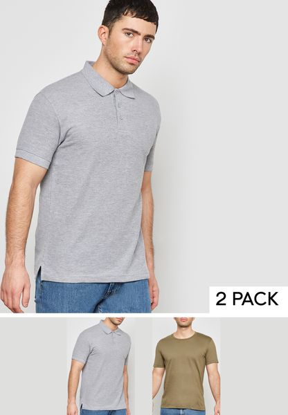 Essential Crew Neck T-Shirt And Polo Set
