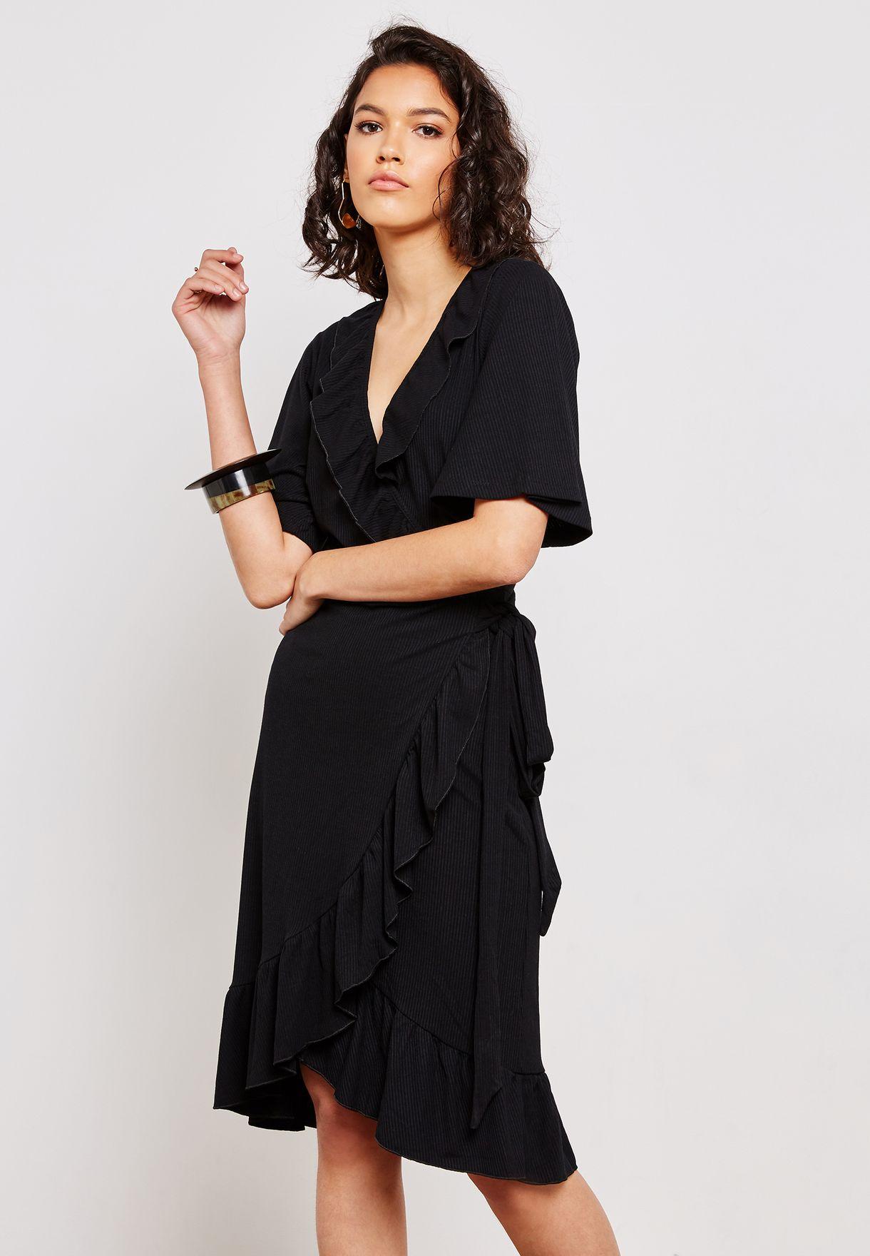 f71ac79edf0 Shop Yas black Frill Wrap Dress 26011282 for Women in Oman ...