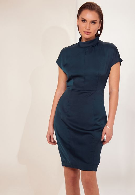 Rex High Neck Belted Dress