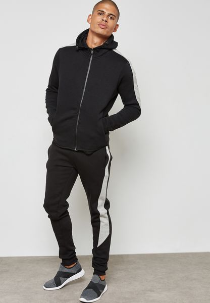 Mens Skinny Fit Spliced Contrast Tracksuit