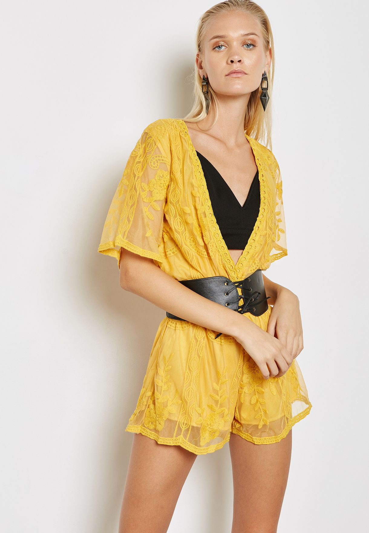 e8d8178f7f12 Shop Reverse yellow Lace Detail Playsuit 408 for Women in Bahrain -  RE169AT10PDD