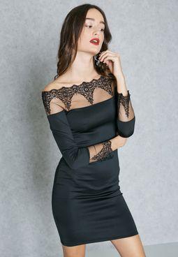 Sheer Lace Trim Bardot Dress